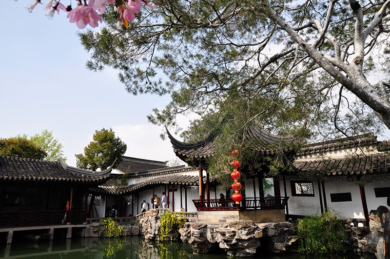 A classical garden and pond in Suzhou, China