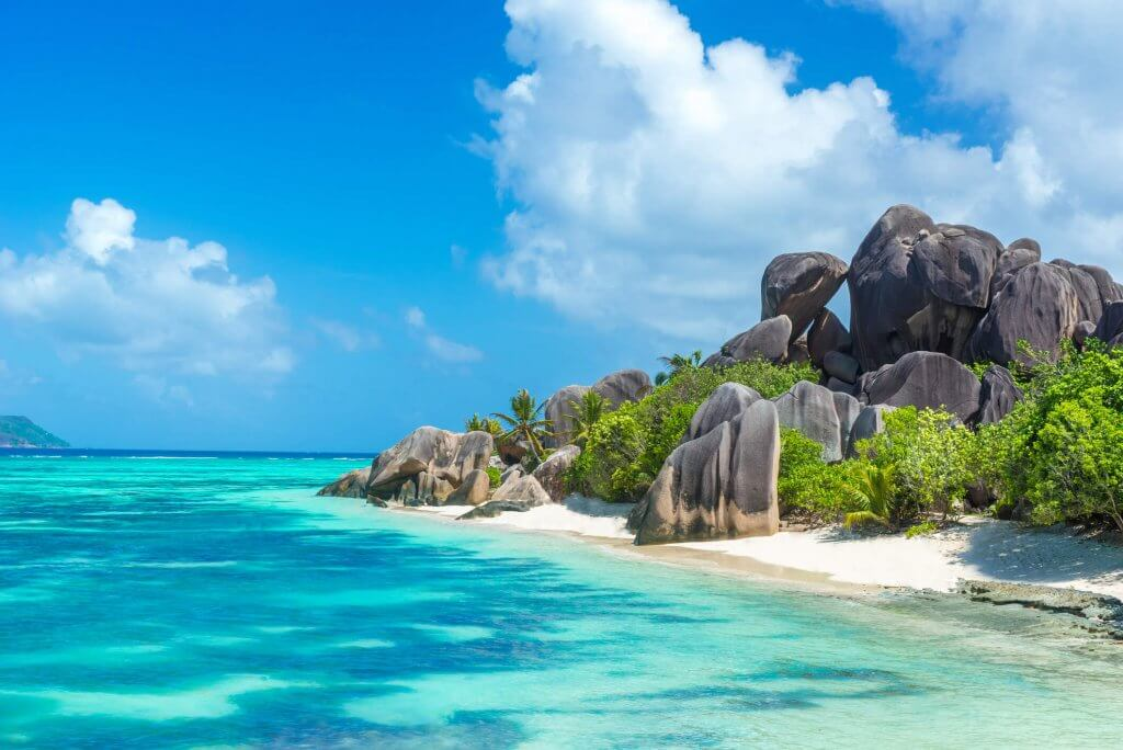 Rock formations on the beach in the Seychelles islands