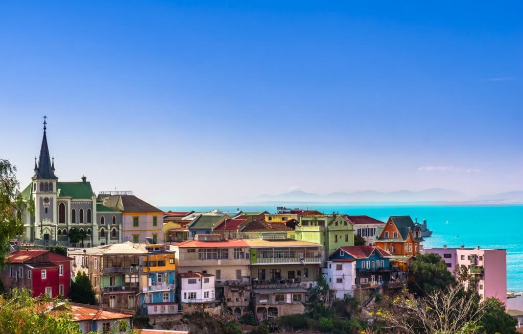 Colourful homes in Valparaiso overlook the water