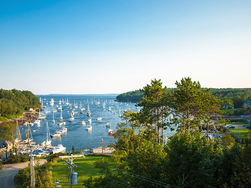 View of the harbour in Rockport, Maine