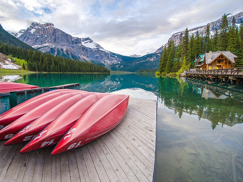 canoe rental on emerald lake in canada's yoho national park