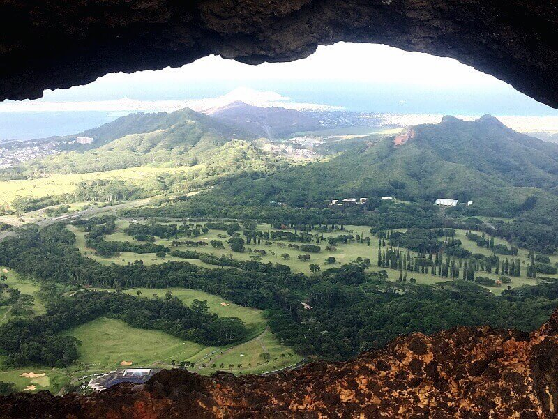 The view at the top through the Pali Puka, Oahu's natural lookout hole.