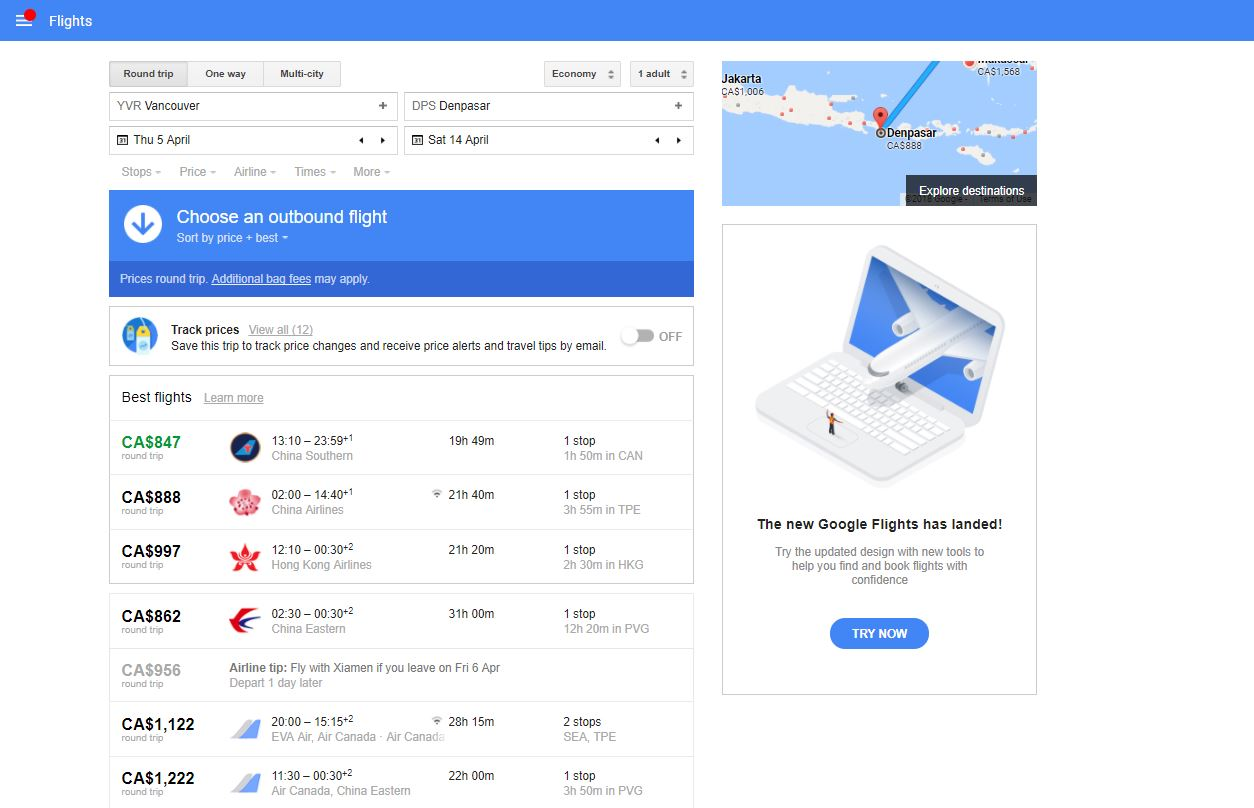 travel deals google flights