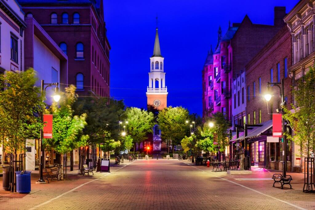 Summer nights in the unexpectedly colourful town of Burlington, Vermont.