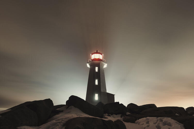 The light house at Peggy's Cove at night
