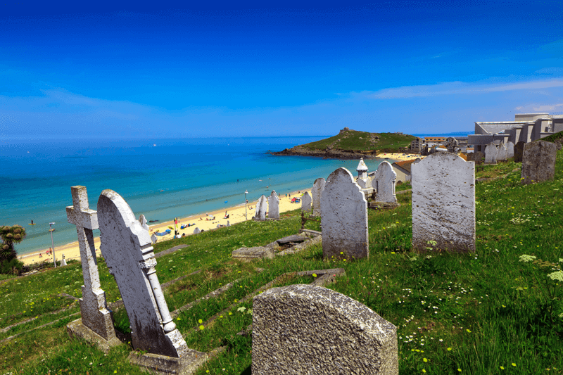 old graveyard overlooking beach
