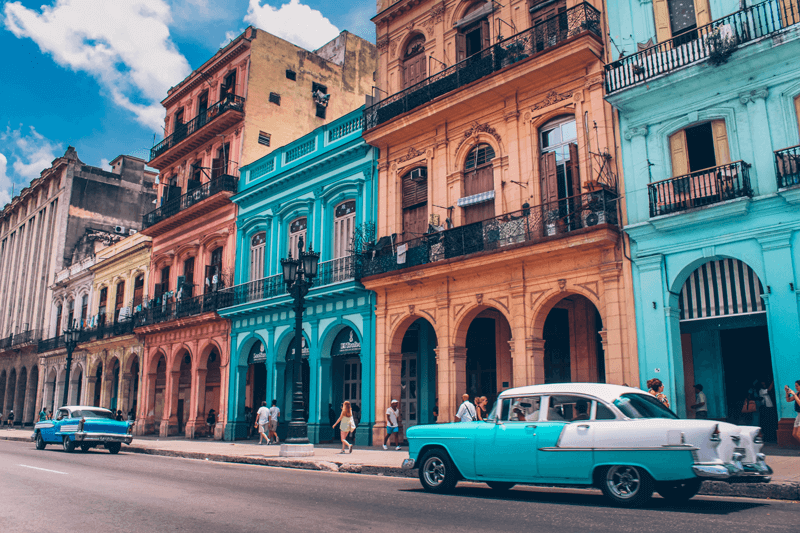 bright buildings in cuba