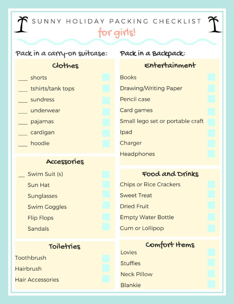 These checklists are intended to be printed and given to the kids to collect the items that need to be packed. I always try to involve them in this process, because it's a great life skill to have!