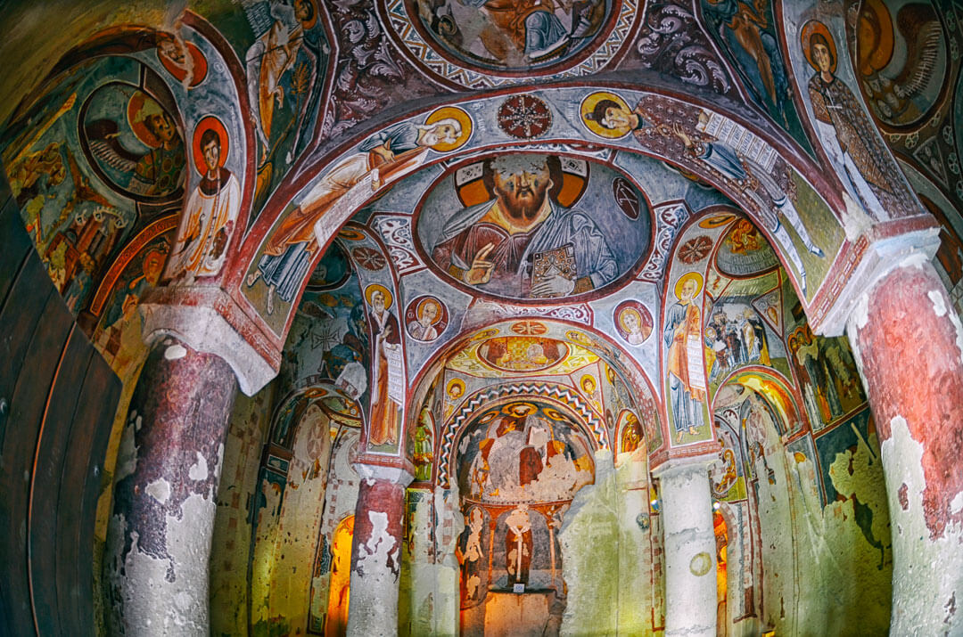 view of fresco inside church in open air museum