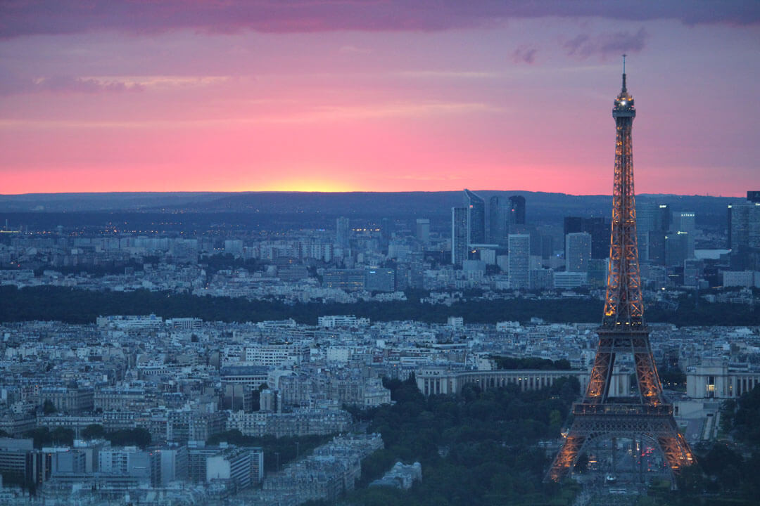 View of Paris and the Eiffel Tower at sunset