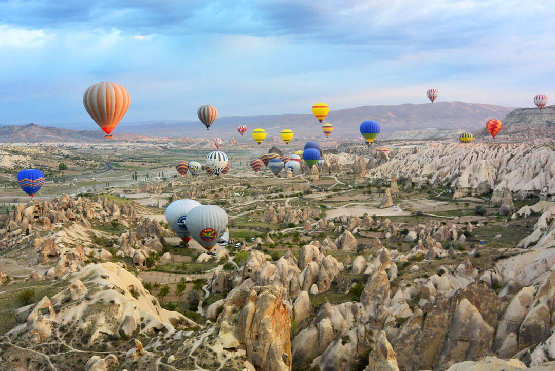 air balloons soar over Göreme, Cappadoccia, turkey