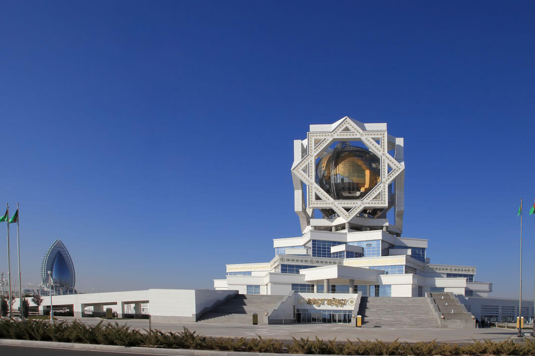 One of the many futuristic-looking sights in Ashgabat.