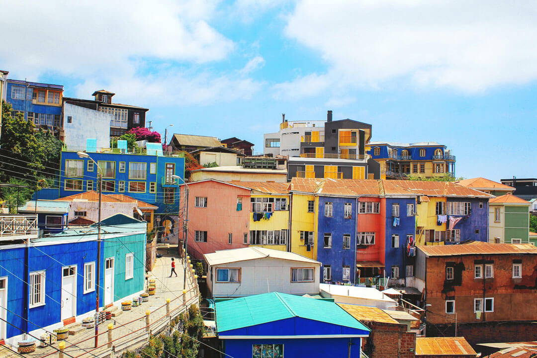 Colourful homes on hill in Valparaiso, Chile