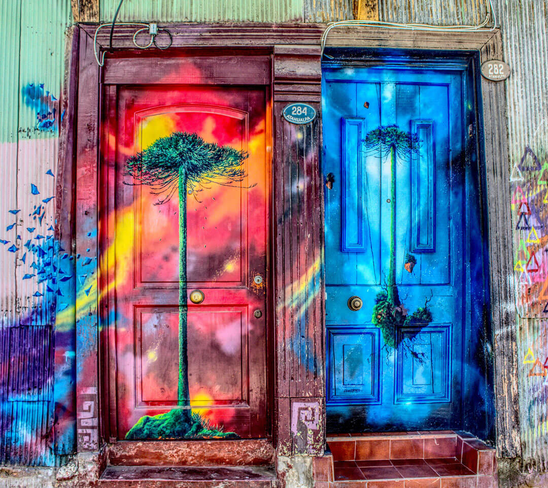 Painted door in Valparaiso Chile