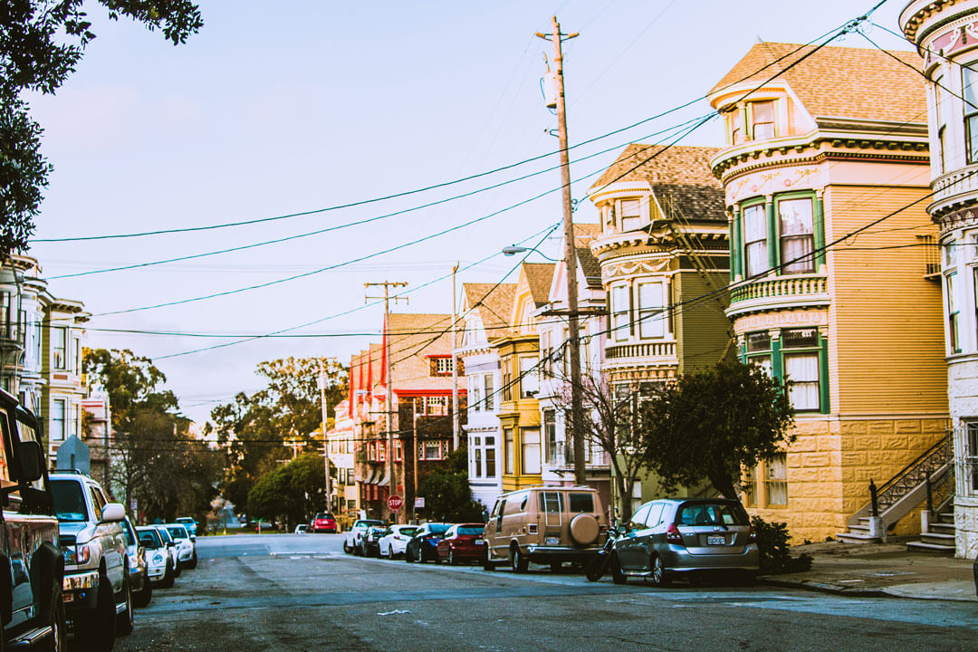 Colourful wooden buildings along San Francisco street