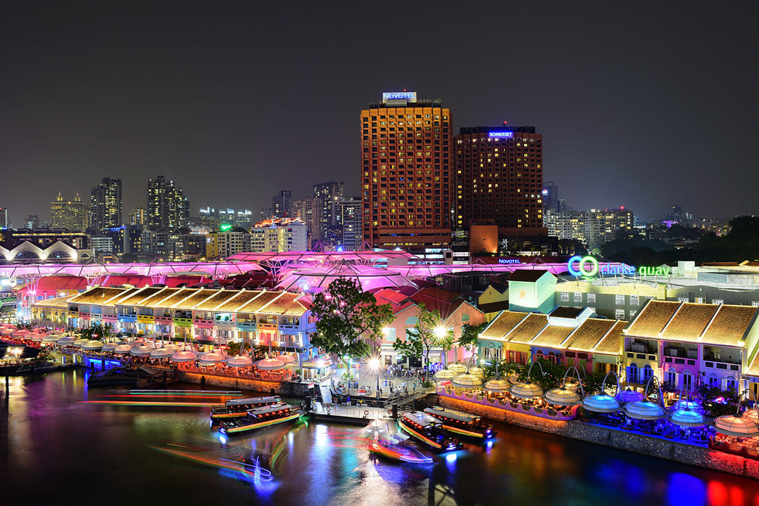 restaurants and boats in Clarke quay, Singapore