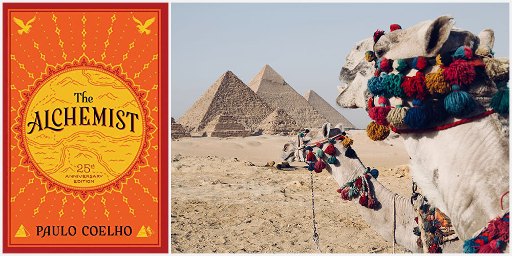 The Alchemist book cover and the pyramids at Giza, Egypt
