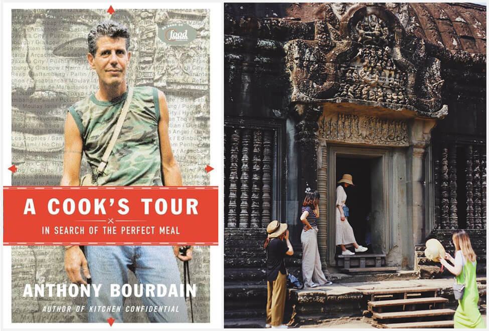 A Cooks Tour book cover and temple at Angkor Wat, Siem Reap, Cambodia
