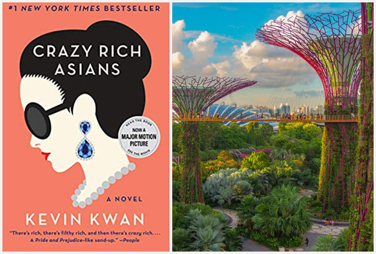 Crazy Rich Asians book cover and Super Tree Grove, Singapore