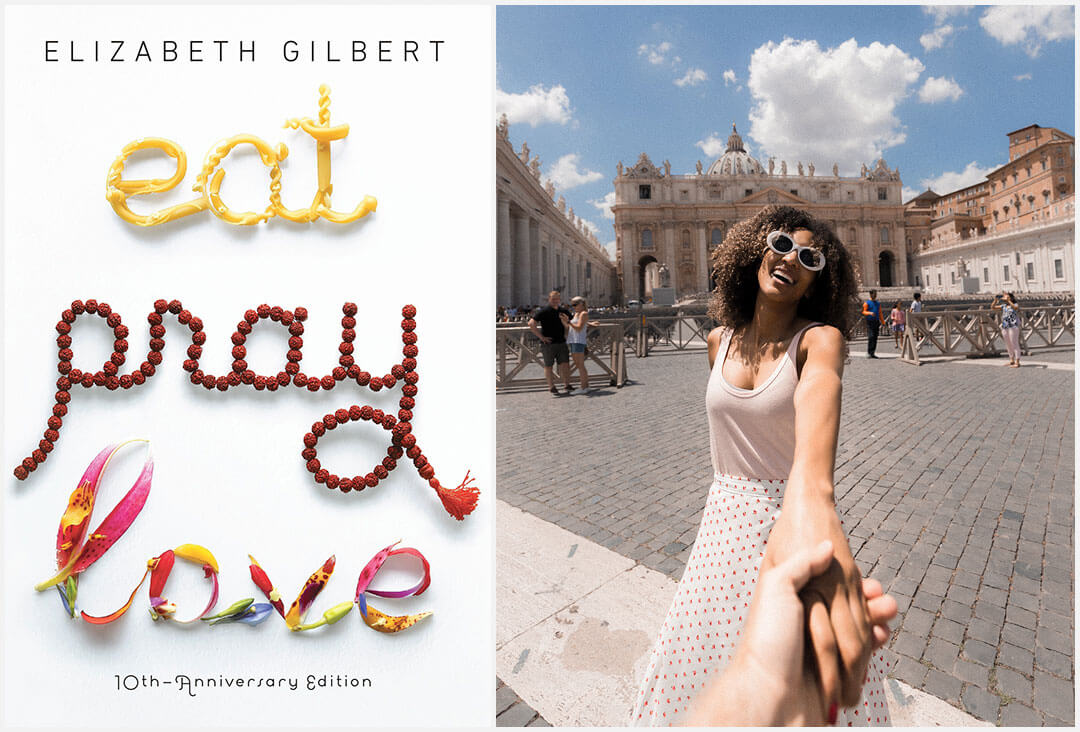 Eat, Pray, Love book cover and plaza in Italy