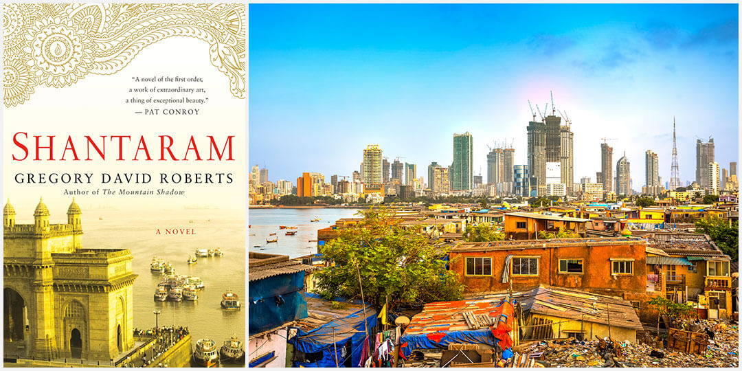 Shantaram book cover and Mumbai city view