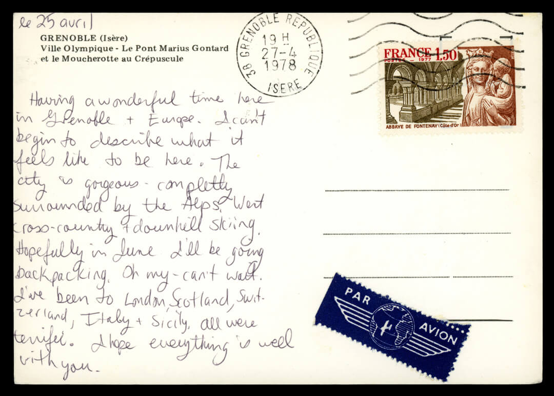 """An excited handwritten postcard sent from Grenoble, France, in 1978."""