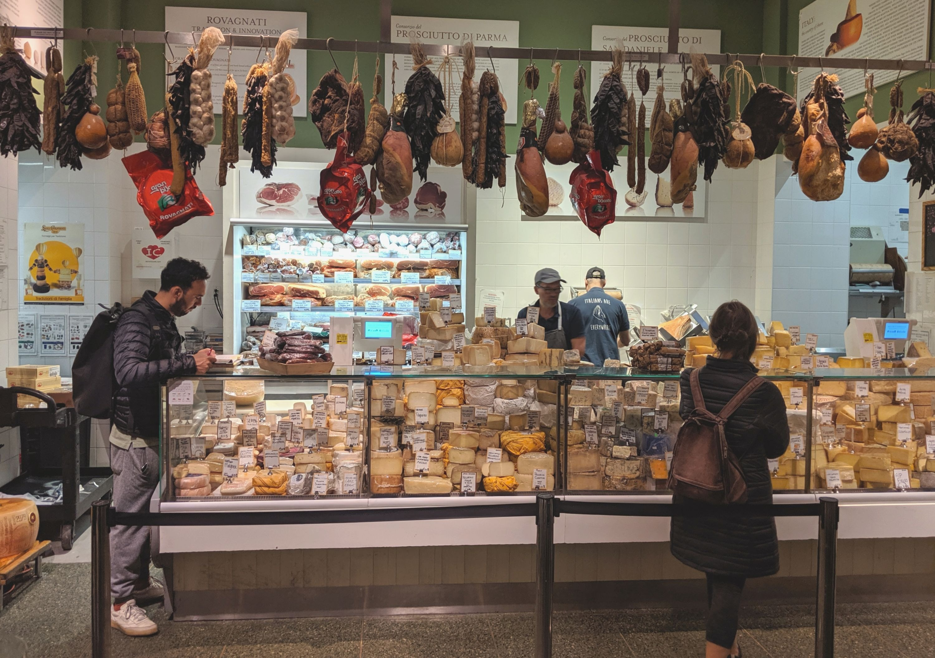 A cheese and meats counter in Eataly, NYC