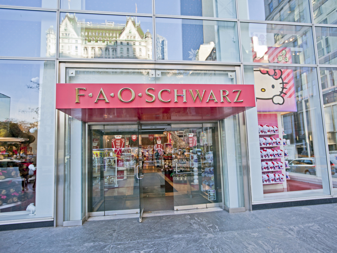 Entrance of New York's famous FAO Schwarz toy store at Rockefeller Center in NYC