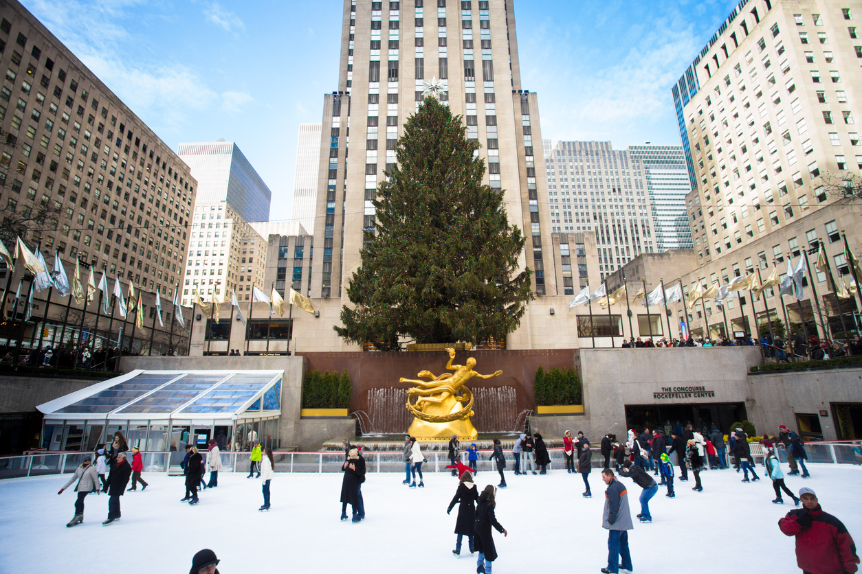 Visitors skate in the famous Rockefeller Ice Rink in NYC in the Winter