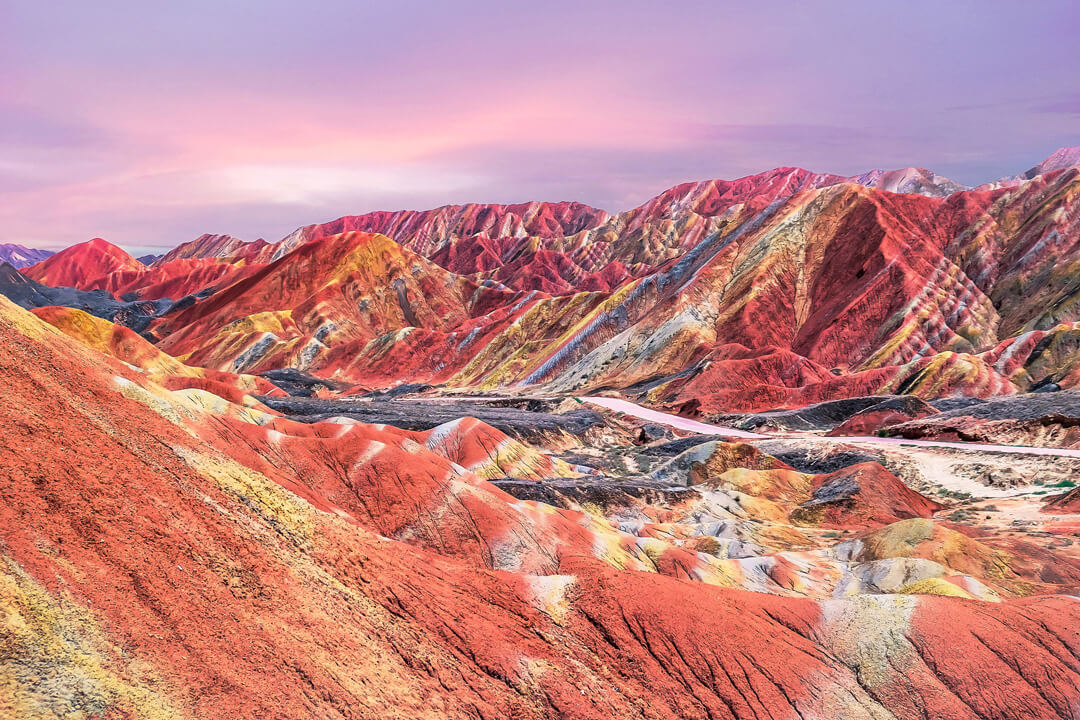 Sunset in China's rainbow mountain