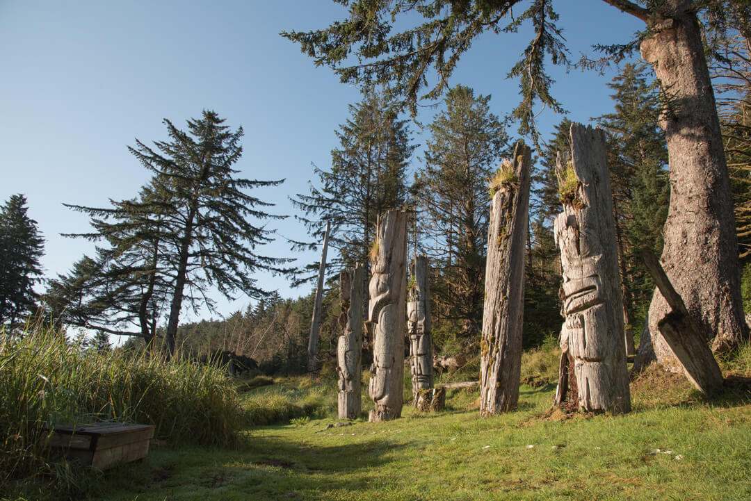 Totem poles in the British Columbia island of Haida Gwaii.  Haida poles, some of which are 300+ years old.