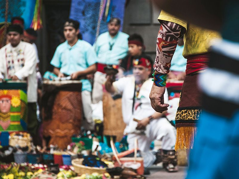 Incense burning and chanting is a ritual in Mexico City